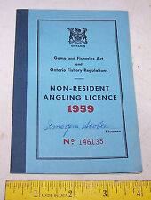 1959 Ontarion Non-Resdident Angling License - Fishing Canada