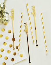 Set of 6 Metallic Gold Cheers Drink Stirrers Bridal Shower Wedding Decorations