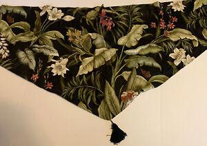 Waverly Black Wailea Tropical Leaves Ascot Valance Tassel Butterflies EUC