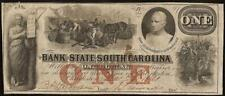 1861 $1 DOLLAR BILL SOUTH CAROLINA BANK NOTE LARGE CURRENCY OLD PAPER MONEY VF