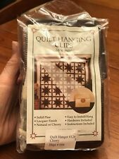 """Nip 2 Quilt Hanging Clips Cherry Stain Solid Pine Lacquer Finish 4"""" Wide Knobs"""