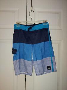 Youth Boy Quiksilver Black Blue Bathing Suit Swim Trunks Board Shorts Size 26/12