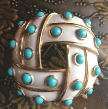 Vintage Signed Crown Trifari Turquoise Cabs White Enamel Brooch