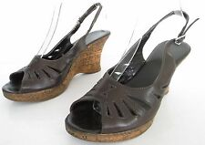 CLARKS SIZE 7 WOMENS BROWN PEEPTOES ANKLE STRAPS SLINGBACKS SANDALS WEDGES SHOES