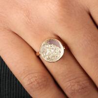 14k Yellow Gold Crystal Quartz Gemstone Shaker Ring Baguette Diamond Jewelry NEW