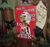 Primitive Vtg Style Pin Up SANTA GIRL RED CHRISTMAS Tin Sign RETIRED Gift Idea