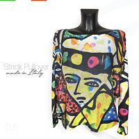 Strick Pullover Made in Italy 'Cubism' Print Muster Langarm Pulli Gr: 38-46