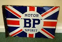 BP MOTOR SPIRIT Union Jack enamel sign. Vintage Automobilia.