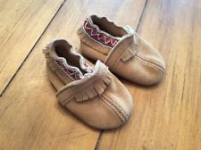 Minnetonka Fringe tribal moccasin Moc  shoes bootie  leather suede 2 0-6 month