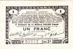 1 FRANC VF EMERGENCY ISSUED NOTE FROM FRANCE/70 COMMUNES 1915