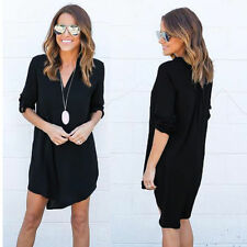 Long Sleeve Women Shirt Loose Blouse Chiffon Casual V-Neck Summer Dress AI