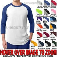 Mens 3/4 Sleeve Colorblock Raglan Baseball Jersey T-Shirt XS-XL 2X 3X 4X 5X 6X