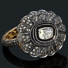 Diamond Silver Wedding Ring Jewelry Victorian 3.38Cts Solitaire Antique Cut Rose