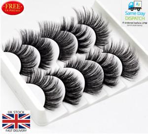 5Pair 3D Mink False Eyelashes Wispy Cross Long Thick Soft Fake Eyelashes FREE UK