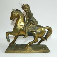 Vintage Bronze Sculpture Statue Of Horse and Cowboy With Lasso And Rifle