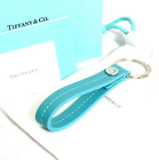 Authentic Tiffany & Co. Blue Leather Key Ring Holder Made Italy with Box Good