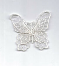 WHITE EMBROIDERED DOUBLE LAYER BUTTERFLY APPLIQUE 2549-B