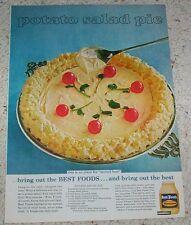 1966 vintage ad - Best Foods Mayonnaise - Potato Salad Pie recipe AD PAGE