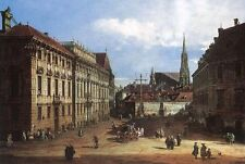 Beautiful artwork Oil painting Vienna platz with great buildings church canvas
