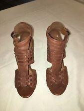 Nine West Gladiator Strap Heels, Brown, Size 6.5M