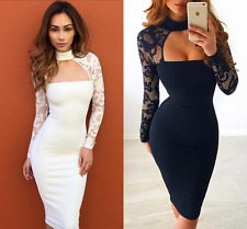 Womens Ladies Lace Long Sleeve Choker Dress Formal Cocktail Party Bodycon Dress