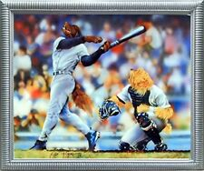 Funny Dog Playing Baseball Kids Room Animal Wall Decor Silver Framed Art Picture