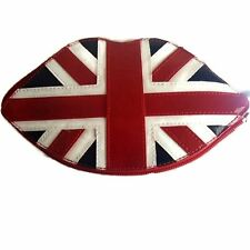 Union Jack Flag Tote Lips Design Clutch Bag Foldable NEW LULU GUINNESS