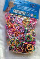 600 Bands Bandz Multi Rainbow Striped Twistz Loom Rubber Band Refills Hook/SClip