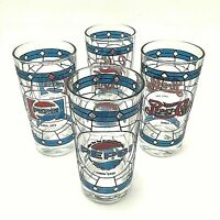 4 Vintage Pepsi Cola Blue Red Stained Glass Style Flared Glasses
