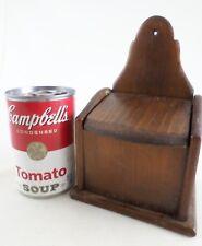 Old Vintage Primitive Wood Wall Hanging Salt Spice Box - Slant Lid