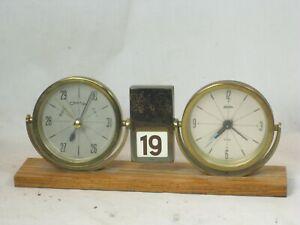 vintage Linden West Germany Alarm Barometer perpetual calendar executive desk