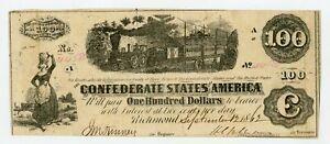 1862 T-40 $100 Confederate States of America Note - CIVIL WAR Era w/ TRAIN