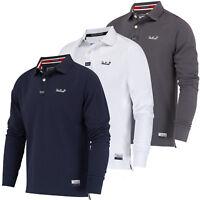 Mens Polo Shirt Long Sleeve Collar Stallion Casual Cotton Pique Designer New Top