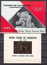 Ras Al Khaima, Mi cat. 296 C. Coubertin Olympic Gold Foil s/sheet in Folder.