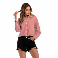 Women Tops Slim Clothing Long Sleeve Office Lady V-neck Casual Shirt Blouse