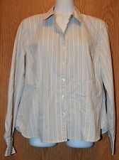 Womens Gray Striped George Long Sleeve Shirt Size Medium 8 10 excellent