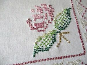 VINTAGE TABLECLOTH HAND EMBROIDERED with PINK ROSES