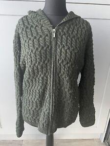 Aran Crafts Ireland Dark Green Cardigan Jacket 100% Merino Wool Hooded Large