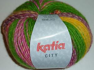 (8,50€/100) Katia City Farbe 953 Super schöne Wolle lila grün pink gelb