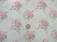 Yuwa Vintage Inspired Pink Rose Bouquets on CREAM Yd. Cotton Fabric 1 yd.