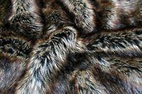 Super Luxury Faux Fur Fabric Material - BROWN BLACK