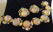 Vintage Schiaparelli Bracelet & Earring Set~Fire Opal Art Glass/Rhinestones