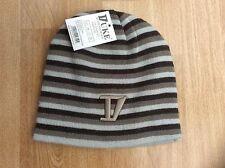 DUKE STRIPES REVERSIBLE BEANY / BEANIE HAT ONE SIZE DARK TAUPE