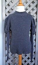 I PINCO PALLINO Cotton CASHMERE Sweater ITALY Ash Gray 8 10 EURO Puff Sleeves