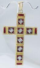 Diamond Large Cross Pendant Red Enamel .28ct single cut 18K Yellow Gold Vintage