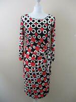 M&Co dress retro print size 10 tie left body con stretch black white pink circle