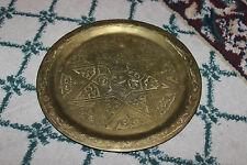 Vintage Arabic Middle Eastern Brass Serving Tray W/Pentagram Star Center-Marked