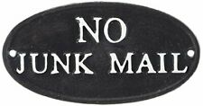 No Junk Mail Sign - Cast Iron Vintage Plaque Decor