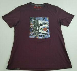 new ROBERT GRAHAM men tee t-shirt skull spirit cotton red burgundy XL