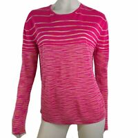 Missoni Top Long Sleeve Bright Pink Striped Stretch Knit Women Size Large 48